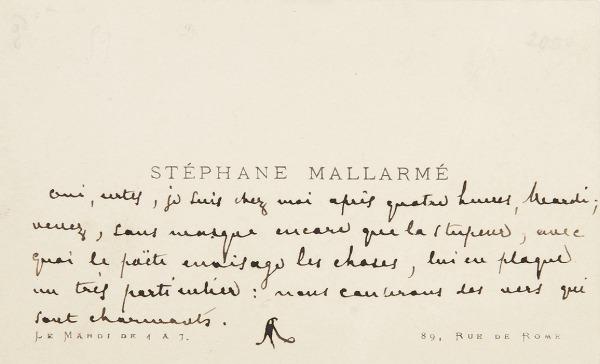 Stéphane Mallarmé 1842–1898, Carte de Visite